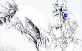 Аниме: череп, цветы, девушка, уши