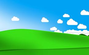 Минимализм: облака, небо, трава, холмы