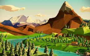 Минимализм: деревья, река, пейзаж, небо, горы