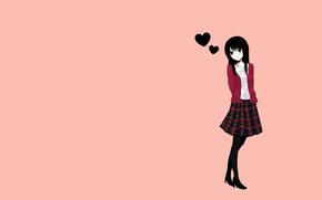 Аниме: аниме, обернулась, черные волосы, минимализм, задумалась, простой фон, девушка, стоит, любовь, оранжевый фон, сердце, юбка