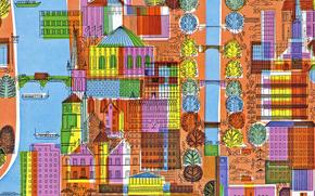 Текстуры: холст, улицы, рисунок, ткань, город, дома, деревья