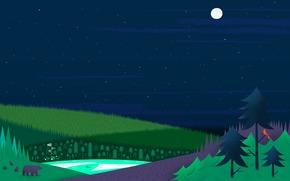 Текстуры: лес, луна, дома, елки, Звезды, медведи, озеро