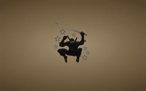 Минимализм: черный костюм, звездочки, минимализм, прыжок, клинок, меч, оружие, ниндзя