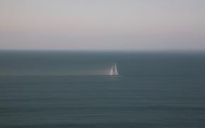 Минимализм: лодка, море, минимализм, парус, мгла