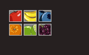 Минимализм: голубика, фрукты, квадраты, серый  фон, бананы, грейпфрут, яблоко, апельсин, виноград