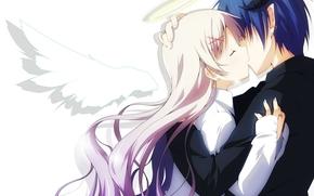 Аниме: нимб, аниме, девушка, поцелуй, крылья, арт, ангел, двое, слезы, рога, парень, демон, пара