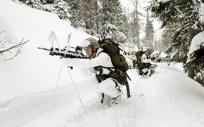 Мужчины: армия, снег, солдат, оружие, зима