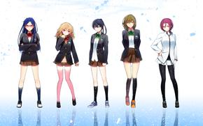 Аниме: аниме, форма, девушки, свобода, отражение, арт, школьницы