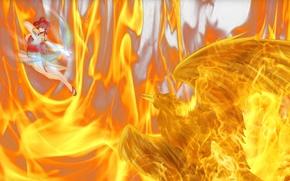Аниме: огонь, сказка о хвосте феи, аниме, девушка, арт, лук, птица