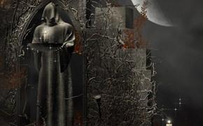 Обои Рендеринг: рендеринг, свечи, смерть, камень, капюшон, фэнтези, узоры, Луна, жрец, фигура