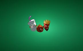 Минимализм: картошка фри, минимализм, Тефтель, молочный коктейль