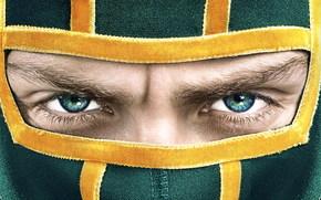 Фильмы: Аарон Тейлор-Джонсон, взгляд, лицо, маска, фильм, пипец, глаза