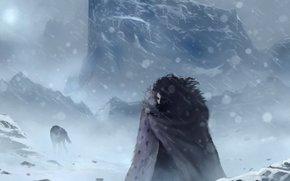 Фильмы: зима, Джон Сноу, снег, холод, арт, волк, Игра престолов
