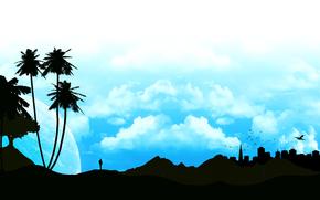Минимализм: пальма, силуэт, пейзаж, небо, профиль, облака, человек, город