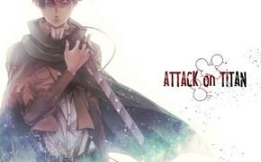 Аниме: атака титанов, меч, Эрен, взгляд, пожар