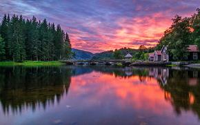 Пейзажи: лес, Норвегия, заря, мост, река, Роголенд, утро, дома