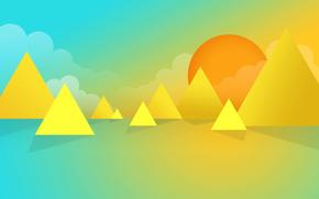 Минимализм: облака, солнце, горы, море, абстракция, небо