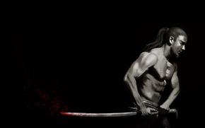 Мужчины: меч, профиль, кровь, воин, чёрный фон