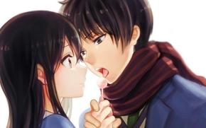 Аниме: девушка, аниме, конфета, шарф, парень, арт, пара, двое, за гранью