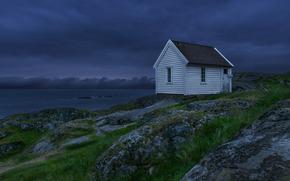 Природа: небо, ночь, тучи, домик, синее, озеро, Норвегия