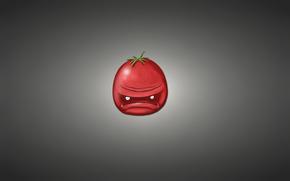 Минимализм: минимализм, красный, томат, темноватый фон, помидор, овощ