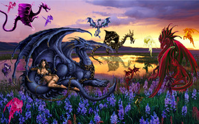 ����������: rainbow dragon, meadow, �������