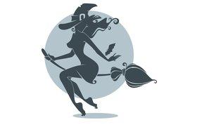 Минимализм: шляпа, летучая мышь, силуэт, праздник, минимализм, метла