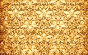 Текстуры: узор, текстура, веточки, золотистый цвет