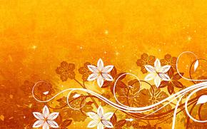 Текстуры: цветы, звёзды, жёлтый  фон