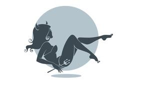 Минимализм: рожки, чертик, девушка, силуэт, фон, минимализм, профиль