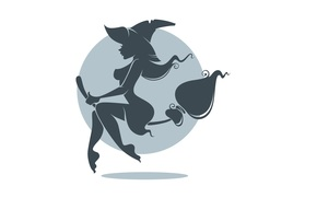Минимализм: метла, профиль, ведьма, шляпа, минимализм, праздник, белый фон