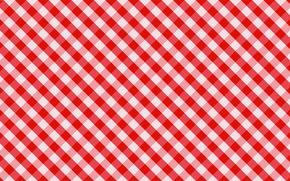 Текстуры: ткань, красный, обои, клетки, белый, скатерть, полотно
