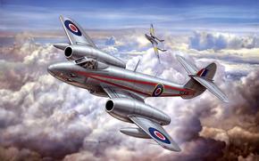 Авиация: союзников, участие, самолет, художник, первый, единственный, Глостер Метеор, истребитель, вооружение, стрелково, принимавший, арт, реактивный, британский, пушечное, производитель