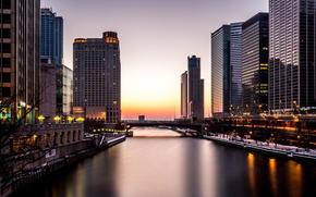 Город: Америка, Небоскребы, Вечер, Река, Огни, Иллинойс, Здания, Чикаго