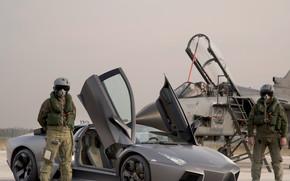 Машины: авто, Lamborghini, истребитель, реактивный, пилот, костюм