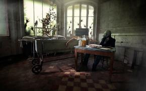 Ситуации: человек, руки, помещение, окна, противогаз