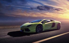 Машины: зелёная, авентадор, Lamborghini, ламборджини