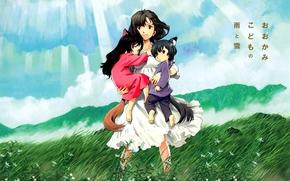 Аниме: арт, ветер, волчата, дети, ушки, девочка, мальчик, лучи, цветочки, хвост, аниме, природа, Волчьи дети Амэ и Юки, облака, небо, девушка