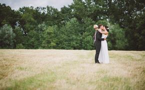 Праздники: невеста, поцелуй, костюм, поле, трава, жених, платье