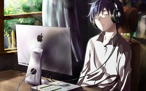 Аниме: спит, компьютер, наушники, парень, слезы, окно