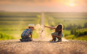 Ситуации: песок, пыль, простор, мальчик, дорога, девочка
