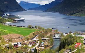 Пейзажи: Норвегия, norway, Гейрангер-фьорд, the geiranger fjord, горы, корабли, пейзаж