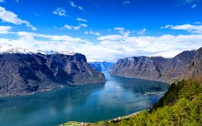 Пейзажи: Норвегия, norway, Гейрангер-фьорд, the geiranger fjord, горы, река, пейзаж