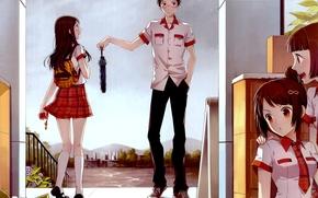 Аниме: цветы, парень, дома, очки, зонт, девушки, арт, дождь, сумка, смущение, школьники, аниме