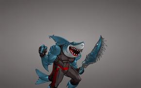 Минимализм: меч, оружие, крючок, зубастая, акула, рыба, минимализм, мутант