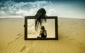 Ситуации: песок, зеркало, фотограф, отражение, девушка