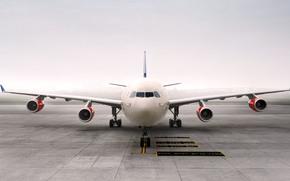 Авиация: Крылья, Передок, Турбины, Самолет, Авиалайнер, Туман, Пассажирский, Авиация