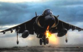 Авиация: Крылья, Истребитель, Взлет, Самолет, Авиация, Вечер, Бомбардировщик, ВВС, Харриер