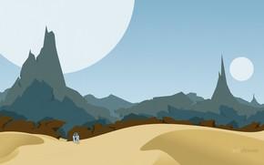 Минимализм: пустыня, робот, планеты, горы