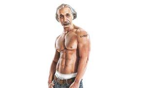 Мужчины: Ученый, Альберт Эйнштейн, Рельеф, Мышцы, Юмор, Пресс, Тату, Формула, Торс, Фон, Татуировка, Мускулы, Физик